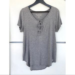 Hollister Gray Must Have Easy Tie-Front T-Shirt